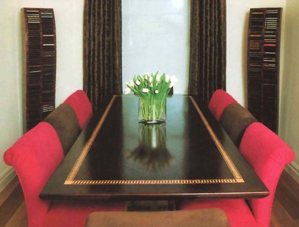 Boardroom table and scroll back chairs