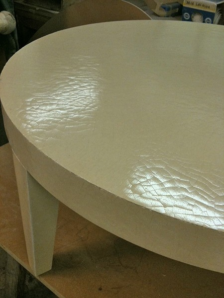 Canvas crackle lacquer coffee table