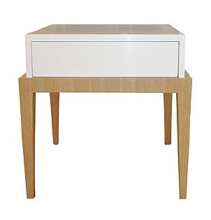 White lacquer and oak lamp table