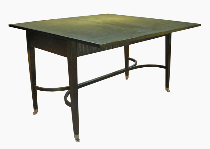 Extending card table with reeded front detailing