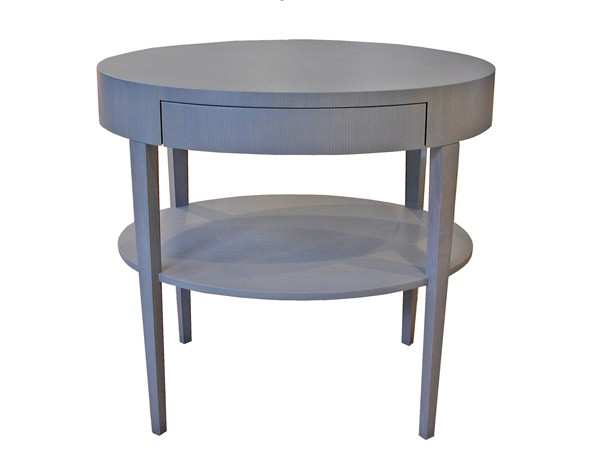 Grey stained oval lamp table