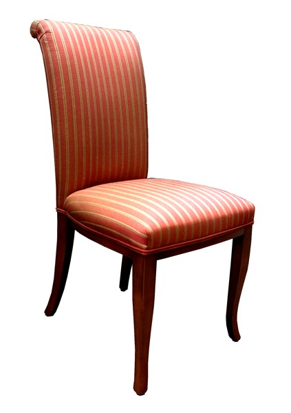 CJ2 Upholstered scroll back dining chair